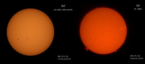Manchas solares (izq)Prominencias (derecha)