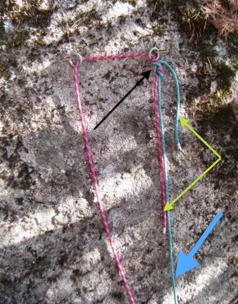 Rapelar en doble-Nudo de unión cuerdas