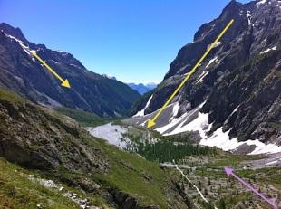 Hace miles de años, todo el valle estaría cubierto de nieve (flechas amarillas). De hecho su forma en U (fondo ensanchado), es causada por la acción glaciar. Rocas y materiales arrastrados (violeta)