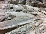 """Roca """"aborregada"""", pulida por la acción glaciar. Se ven las estrías ó """"arañazos"""", producidas por la fricción de las rocas, en su descenso."""