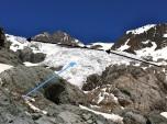 Inicio del Glaciar Blanc (azul); hace 50 años, comenzaba claramente más abajo. Ruta a seguir (negro)