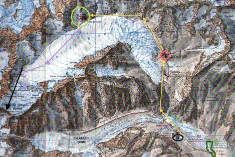 Mapa del Glaciar Blanc