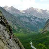 Rapelando en Los Alpes