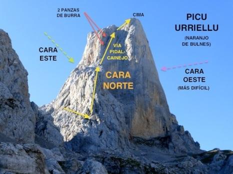 La vía PIdal Cainejo, fué la primera escalada de todas, en 1904 por el Cainejo y el Marqués de PIdal